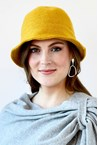 RIBBED WOOL HAT - mustard