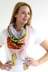 PINEAPPLE SCARF - grey/pink