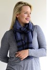 BIG CHECK SCARF - navy/blk