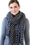 BOUCLE SCARF - navy