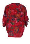 KNOTTED SLEEVE TOP - rouge flor